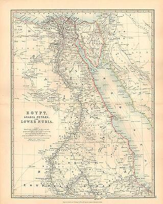 1911 LARGE VICTORIAN MAP ~ EGYPT ARABIA PETRAEA & LOWER NUBIA CAIRO NILE