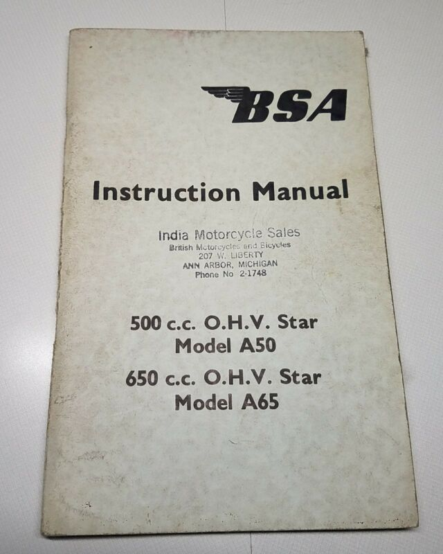 BSA A50 500cc A65 650cc OHV STAR ORIG 1963 INSTRUCTION MANUAL INDIA ANN ARBOR MI