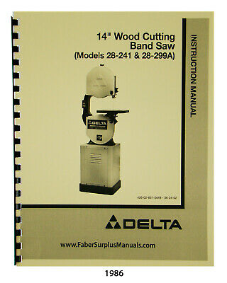 "WALKER TURNER 14/"" Metal Cutting Band Saw Operator Maintenance /& Parts Manual"