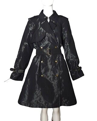 LANVIN-2007 Black Taffeta Trench Coat, Size-12