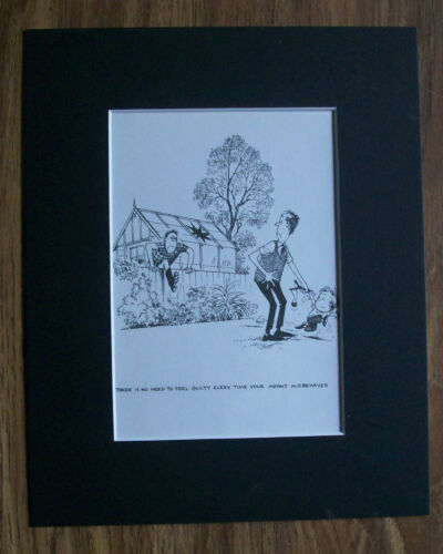 Child Cartoon Print Norman Thelwell Angry Neighbor Bookplate 1977 8x10 Matted