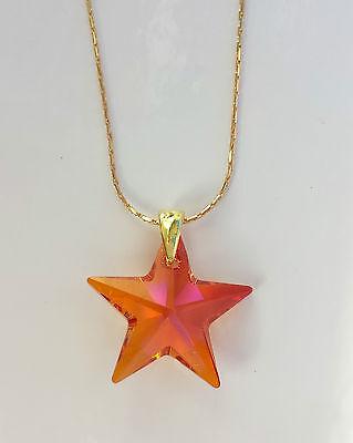 Kette 925 vergoldet mit Swarovski Elements Stern Rot Orange Pink