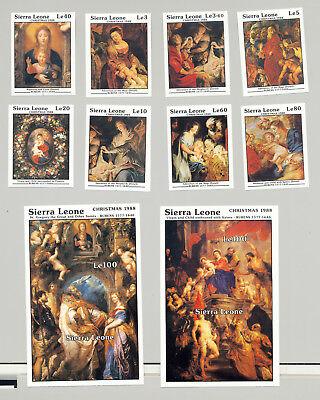 Sierra Leone #1013-1022 Christmas, Art, Rubens 8v & 2v S/S Imperf Proofs