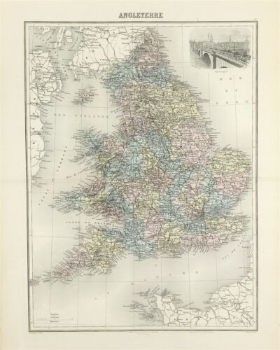 1884 Map of England & Wales for J Migeon Atlas coloured vignette of London