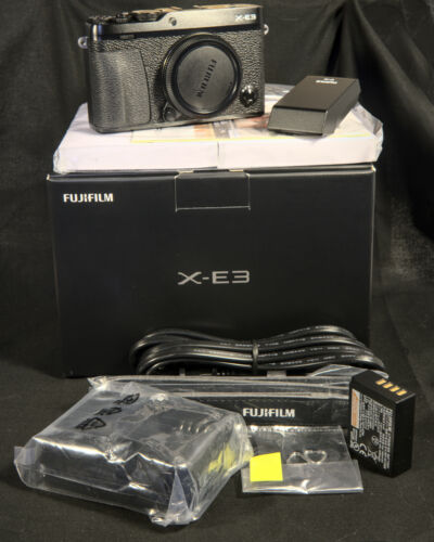 Fujifilm X-E3 Mirrorless Digital Camera, Black, Body Only with extras