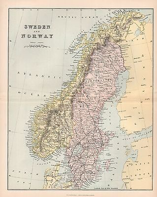 1900 Ca ANTIQUE MAP SWEDEN AND NORWAY