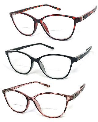 1 or 2 Pairs Womens Retro Cat Eye Frame Bifocal Reading Glasses Spring (Bifocal Reading)