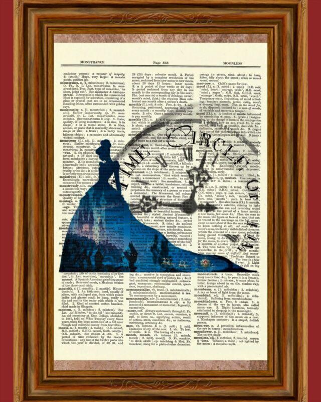 Disney Cinderella Dictionary Art Print Book Picture Poster Princess Clock Time
