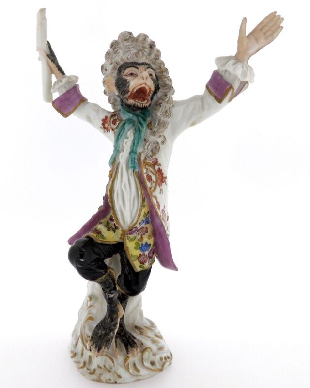 Fine & Large Antique Meissen Monkey Band Conductor Figurine - 1 - DHC - PC
