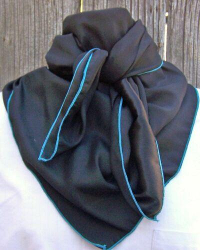 Wild Rag Scarf Western Cowboy Buckaroo Scarves Bandana silky black w/ turquoise