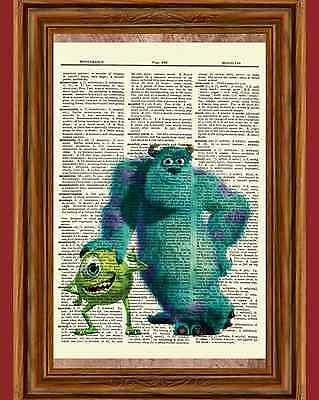 Monsters, Inc. Dictionary Art Print Picture Poster Mike Wazowski Sullivan Sulley - Sulley Monsters Inc