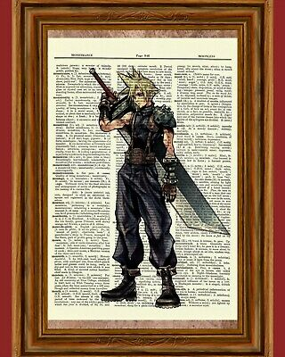 Cloud Strife Kingdom Hearts (Cloud Strife Dictionary Art Print Final Fantasy Game Kingdom Hearts Picture)