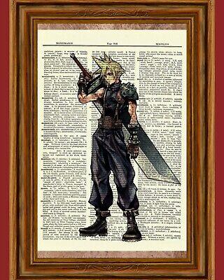 Cloud Strife Dictionary Art Print Final Fantasy Game Kingdom Hearts Picture Cloud Strife Kingdom Hearts