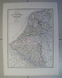 1800 Regni d'Olanda e Belgio Carta Geografica Antica Antique Print Map - Italia - 1800 Regni d'Olanda e Belgio Carta Geografica Antica Antique Print Map - Italia