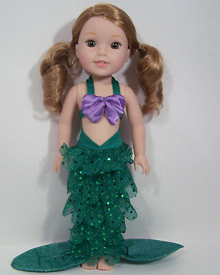GREEN Halloween Mermaid Doll Clothes For AG 14