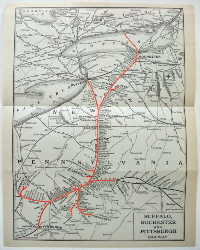 Buffalo Rochester & Pittsburgh Railway - Original 1914 System Map. Vintage