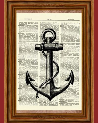 Vintage Anchor Dictionary Art Print Picture Ocean Poster Nautical Ship Sea