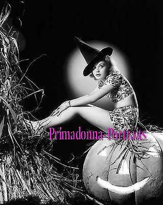 NAN GREY 8x10 Lab Photo SEXY Halloween PUMPKIN Cheesecake Portrait with Moon