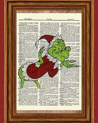 Dr. Seuss How the Grinch Stole Christmas Dictionary Art Print Picture Poster ](Dr Seuss Poster)