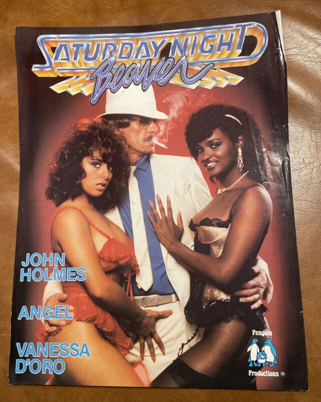 Vintage John Holmes Saturday Night Beaver Porn Movie Advertisement 1980s Poster