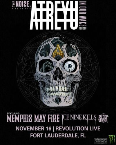 """ATREYU """"IN OUR WAKE TOUR 2018"""" FT. LAUDERDALE CONCERT POSTER - Metalcore Music"""