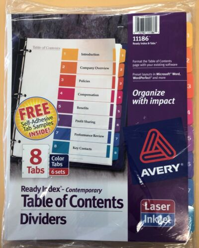 Avery # 11186 - Ready Index Table of Contents/Dividers 8 Tabs ( 6 Sets )