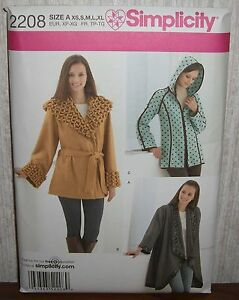 Womens/Misses Fleece Coat/Jacket Sewing Pattern/Simplicity 2208/SZ XS-XL/UCN