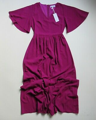 NWT Ashley LeMieux Whimsical Holiday Maxi in Plum Pink Flutter Sleeve Dress S](Whimsical Dresses)