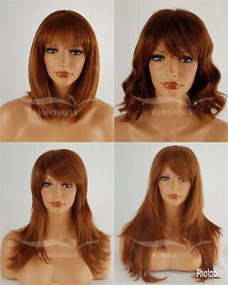 GINGER WIG LADIES WOMENS LONG, SHOULDER LENGTH, STRAIGHT, WAVY, UK - Ginger Wig