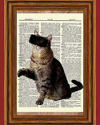 - Virtual Reality Cat Dictionary Curious Art Print Poster Picture Tabby VR Goggles
