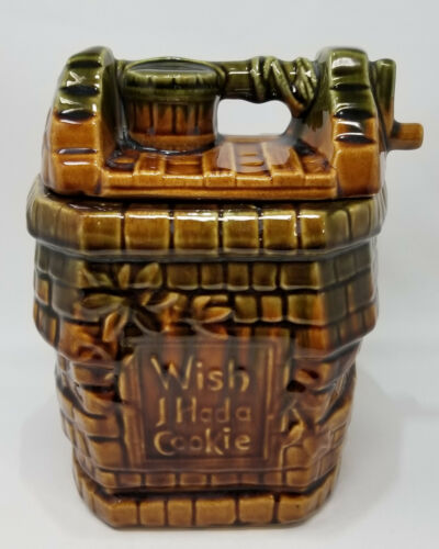 Vintage McCoy Wish I Had A Cookie Wishing Well Cookie Jar USA Pottery 9.5 Inch