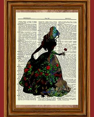 Beauty and the Beast Belle Dictionary Art Print Poster Picture Disney Princess