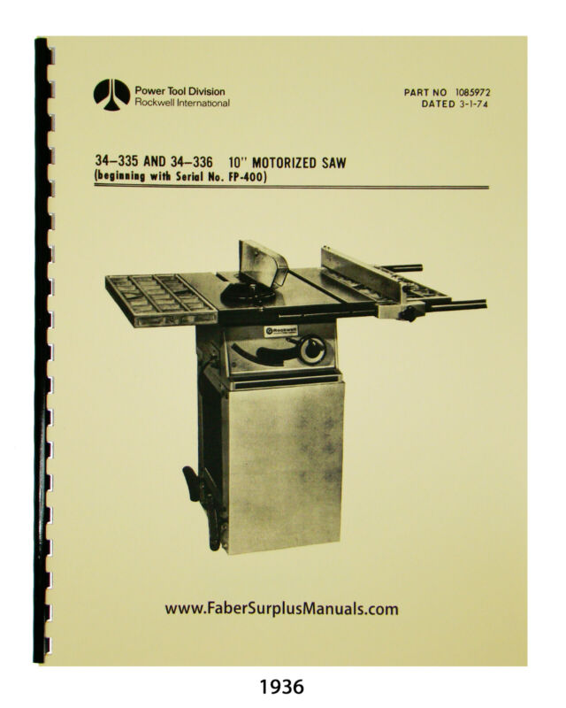 "Rockwell 10"" Motorized Table Saw Instruction & Parts List Manual #1936"