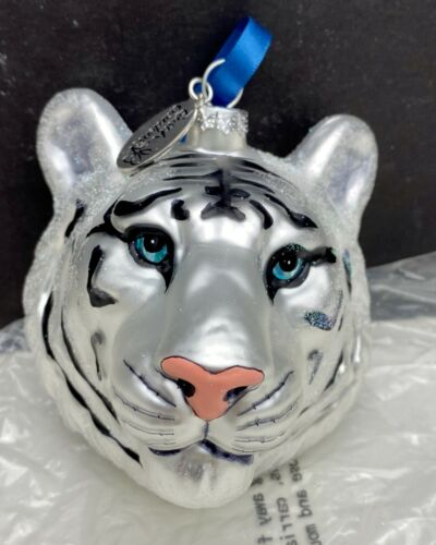 Busch Garden White Tiger Head Christmas Tree Ornament Blown Glass Glitter Dusted