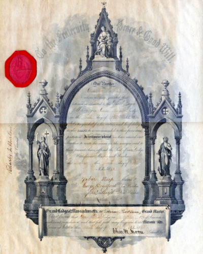 Vintage Freemason Diploma Painting 8x10 Real Canvas Giclee Art Print New