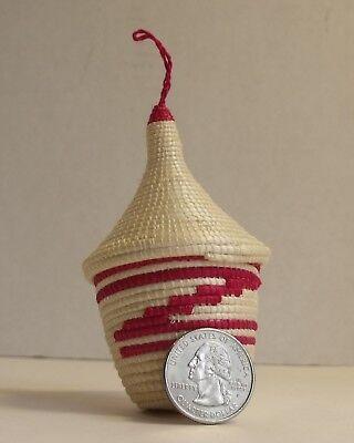Rwanda Tutsi peace pot lidded basket ornament pink & white African Tribal Art