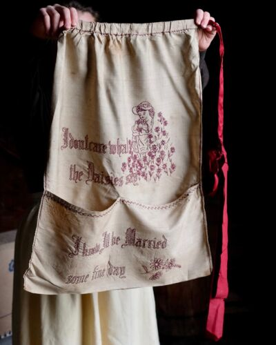 Antique Silk Embroidered Victorian Novelty Apron Domestic Textile