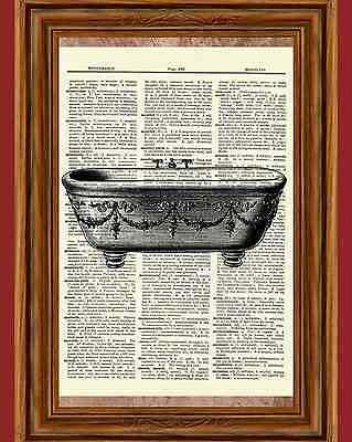 Vintage Clawfoot Bathtub Dictionary Art Print Poster Picture Bathroom Wall Decor