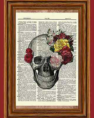 Sugar Rose Skull Dictionary Art Print Picture Poster Halloween Skeleton Day Dead