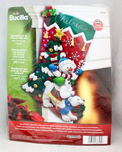 """New PLAID BUCILLA Snowman & Polar Bear 18"""" Felt Christmas Stocking 86358"""