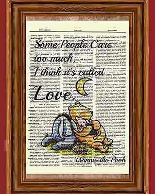 Winnie the Pooh Dictionary Art Print Picture Poster Classic Eeyore Piglet