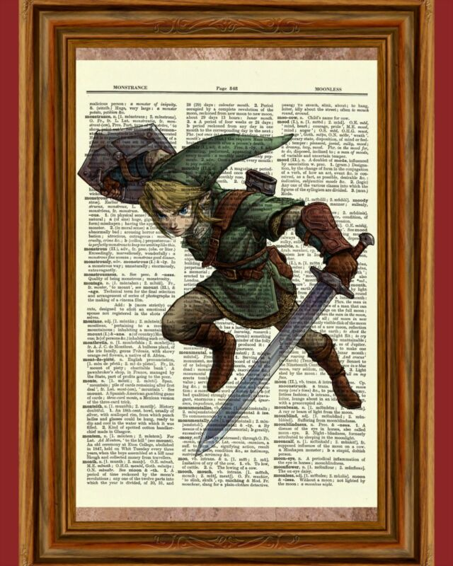 Legend of Zelda Link Dictionary Art Print Poster Picture Video Game Figure