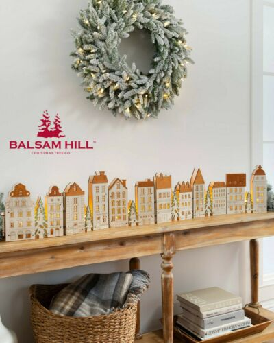 Lit Wooden Christmas Old Town Balsam Hill Special Christmas Decoration 30% Off