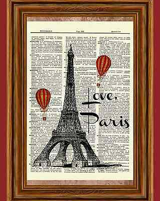 Vintage Eiffel Tower Dictionary Art Print Poster Love Paris Hot Air Balloon