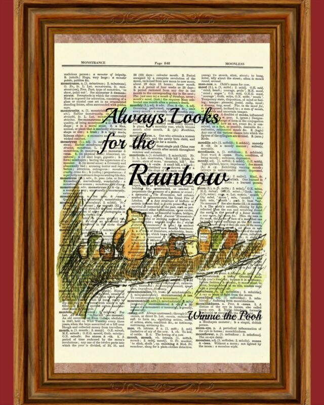 Winnie the Pooh Dictionary Art Print Picture Poster Classic Rainbow Rain Vintage