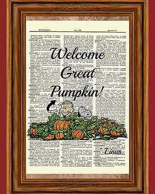 Linus Pumpkin Patch Dictionary Art Print Charlie Brown Peanuts Halloween Snoopy