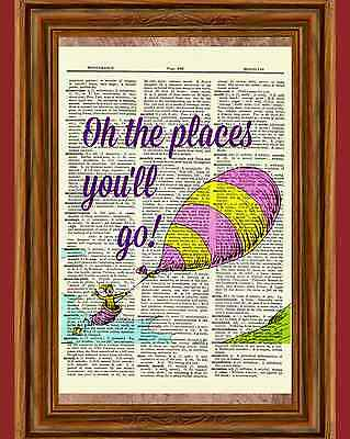 Dr. Seuss Dictionary Art Print Picture Poster Book Oh the places you''ll go!