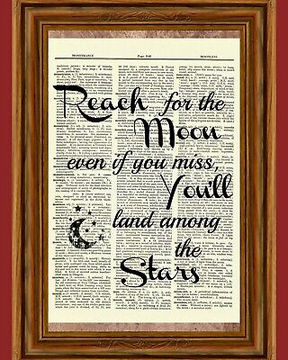 Reach for the Moon Dictionary Art Book Picture Land Stars Inspirational Quote