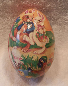 VINTAGE COLORFUL CARDBOARD EASTER EGG CANDY BOX  with RABBITS & DUCKS MOTIF