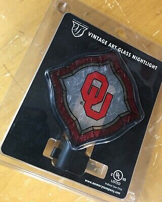 new OU Oklahoma Sooners NIGHT LIGHT Vintage Art Glass kids room baby boy gift Oklahoma Sooners Glass